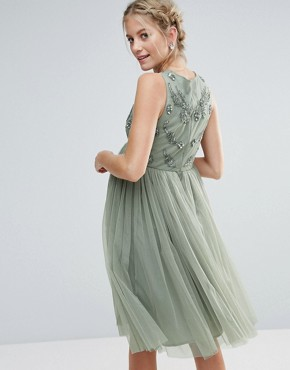photo Sleeveless Embellished Bodice Midi Dress with Tulle Skirt by Maya Maternity, color Sage - Image 2