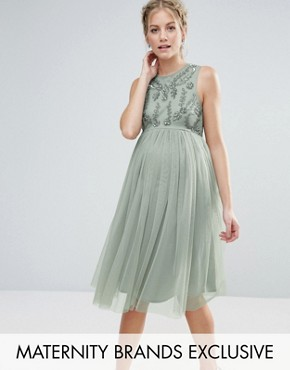 photo Sleeveless Embellished Bodice Midi Dress with Tulle Skirt by Maya Maternity, color Sage - Image 1