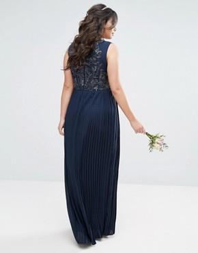 photo Embellished Bodice Maxi Dress with Pleated Skirt by Lovedrobe Luxe, color Navy - Image 2