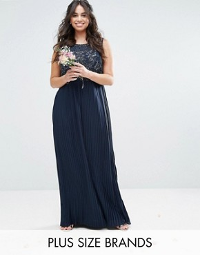 photo Embellished Bodice Maxi Dress with Pleated Skirt by Lovedrobe Luxe, color Navy - Image 1