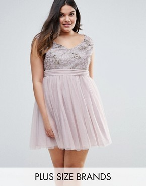 photo Sequin Fit and Flare Dress by Little Mistress Plus, color Silver - Image 1
