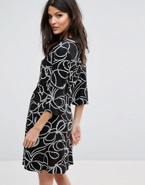 photo Rope Print Split Cuff Dress by Warehouse, color  - Image 2