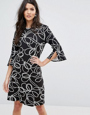 photo Rope Print Split Cuff Dress by Warehouse, color  - Image 1