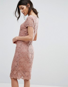 photo Lace Capped Sleeve Dress by Selected Femme, color Burlwood - Image 2