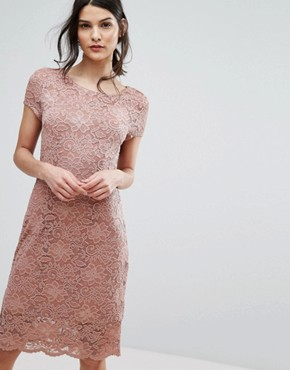 photo Lace Capped Sleeve Dress by Selected Femme, color Burlwood - Image 1