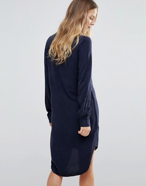 photo Tie Up Detail Shirt Dress by Brave Soul, color Navy - Image 2