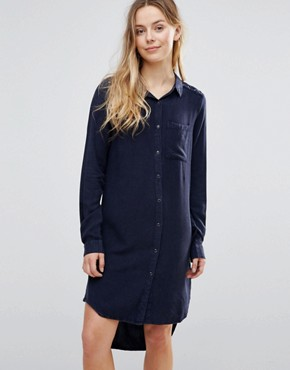 photo Tie Up Detail Shirt Dress by Brave Soul, color Navy - Image 1