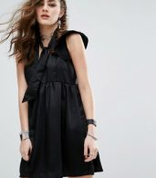 photo Luxe Silky Tie Neck Dress With Deep V Neck by Motel, color Black - Image 1