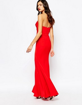 photo Helena Sweetheart Plunge Maxi Dress by Jarlo, color Red - Image 2