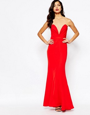 photo Helena Sweetheart Plunge Maxi Dress by Jarlo, color Red - Image 1