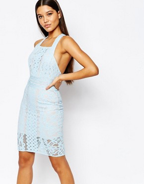 photo Lace Pannel Midi Dress with Squared Neck by Love Triangle, color Cool Blue/Nude - Image 1