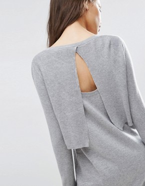 photo 2 in 1 Knit Dress in Cashmere Mix by ASOS PETITE, color Mid Grey - Image 2