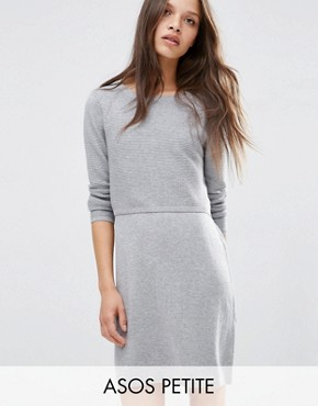 photo 2 in 1 Knit Dress in Cashmere Mix by ASOS PETITE, color Mid Grey - Image 1