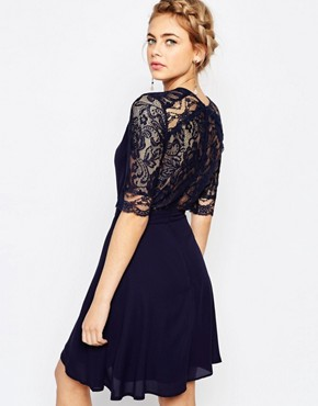 photo 3/4 Sleeve Lace Midi Dress by Elise Ryan, color Navy - Image 2