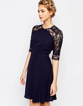 photo 3/4 Sleeve Lace Midi Dress by Elise Ryan, color Navy - Image 1