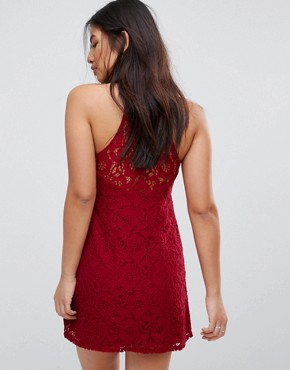 photo Lace Halterneck Mini Dress by Abercrombie & Fitch, color Red Lace - Image 2