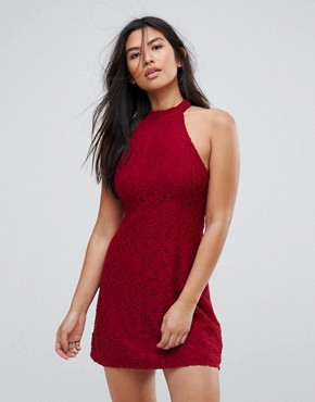 photo Lace Halterneck Mini Dress by Abercrombie & Fitch, color Red Lace - Image 1