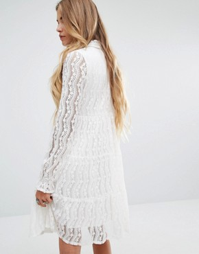photo High Neck Smock Dress in Lace by Navy London, color White - Image 2