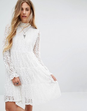 photo High Neck Smock Dress in Lace by Navy London, color White - Image 1