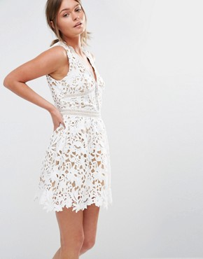 photo Plunge Crochet Lace Skater Dress by New Look Premium, color White - Image 1