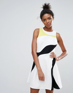 photo Multi Colour Panel Skater Dress by Adelyn Rae, color Off White Multi - Image 1