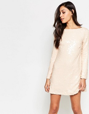 photo Damitri Dress in Sequins by Motel, color Antique Gold - Image 1