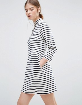 photo Striped Mary Dress by Wood Wood, color Off White/Navy - Image 1