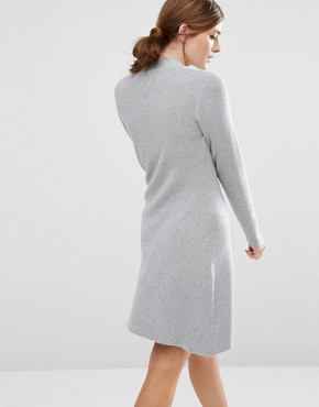 photo Jumper Dress with Tie Neck Detail by Willow and Paige, color Grey Marl - Image 2