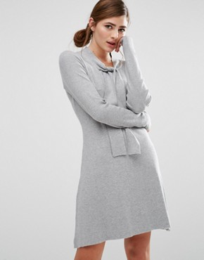 photo Jumper Dress with Tie Neck Detail by Willow and Paige, color Grey Marl - Image 1