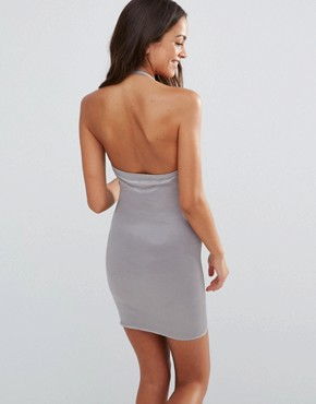 photo Halter Shaping Slip Dress by Smooothees, color Grey - Image 2