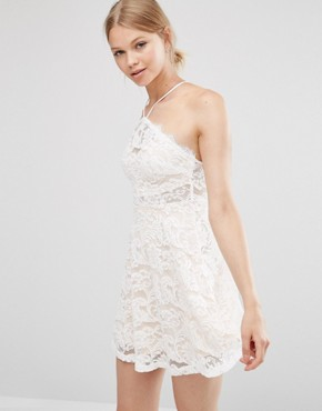 photo Lace Skater Dress by Love & Other Things, color White - Image 1