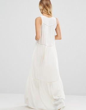 photo Mesh Insert Maxi Dress by Maison Scotch, color White - Image 2