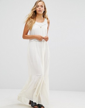 photo Mesh Insert Maxi Dress by Maison Scotch, color White - Image 1