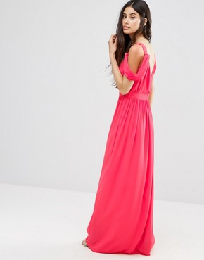photo Cold Shoulder Grecian Maxi Dress by Oh My Love, color Coral - Image 2