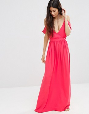 photo Cold Shoulder Grecian Maxi Dress by Oh My Love, color Coral - Image 1