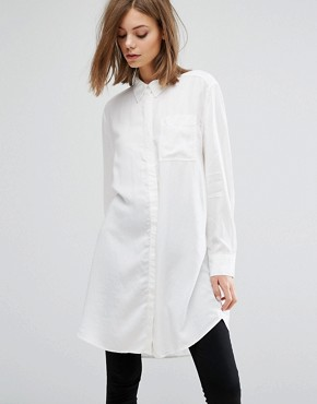 photo Tunic Shirt by Weekday, color White - Image 1