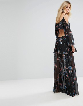 photo Premium Cold Shoulder Maxi Dress in All Over Dark Floral Print by White Cove Tall, color Multi - Image 2
