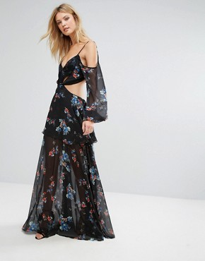 photo Premium Cold Shoulder Maxi Dress in All Over Dark Floral Print by White Cove Tall, color Multi - Image 4