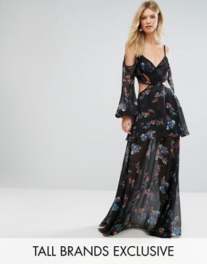 photo Premium Cold Shoulder Maxi Dress in All Over Dark Floral Print by White Cove Tall, color Multi - Image 1