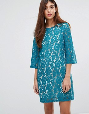 photo Ariana Lace Tunic Dress by Darling, color Teal - Image 1