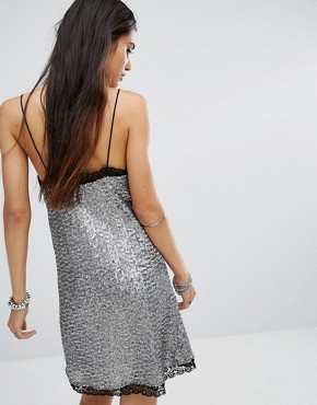 photo Sequin Cami Senjo Slip Dress with Lace Trim by Motel, color Silver - Image 2