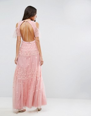 photo Daisy Embroidery Maxi Dress with Cold Shoulder by Needle & Thread, color Bright Pink - Image 2