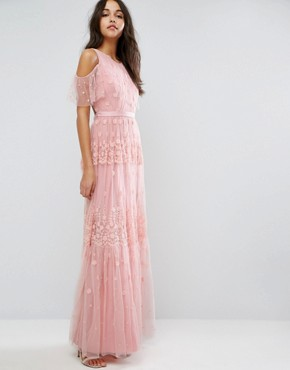 photo Daisy Embroidery Maxi Dress with Cold Shoulder by Needle & Thread, color Bright Pink - Image 1