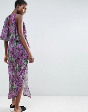 photo Ruffle Overlay Maxi Dress in Large Floral Print by ASOS Made in Kenya, color Floral - Image 2
