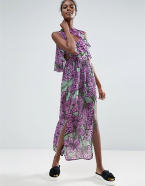 photo Ruffle Overlay Maxi Dress in Large Floral Print by ASOS Made in Kenya, color Floral - Image 1