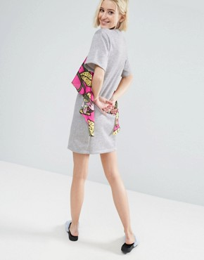 photo Jersey T-shirt Dress with Tropical Floral Ruffle by ASOS Made in Kenya, color Grey - Image 2