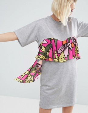 photo Jersey T-shirt Dress with Tropical Floral Ruffle by ASOS Made in Kenya, color Grey - Image 1