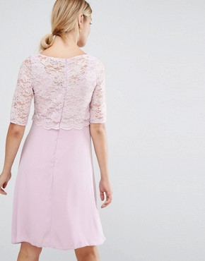 photo Lace Overlay Midi Swing Dress by Queen Bee, color Lavender - Image 2