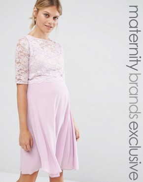 photo Lace Overlay Midi Swing Dress by Queen Bee, color Lavender - Image 1