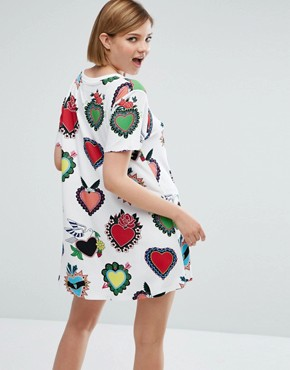 photo Heart Filled T-Shirt Dress by House of Holland, color White - Image 2